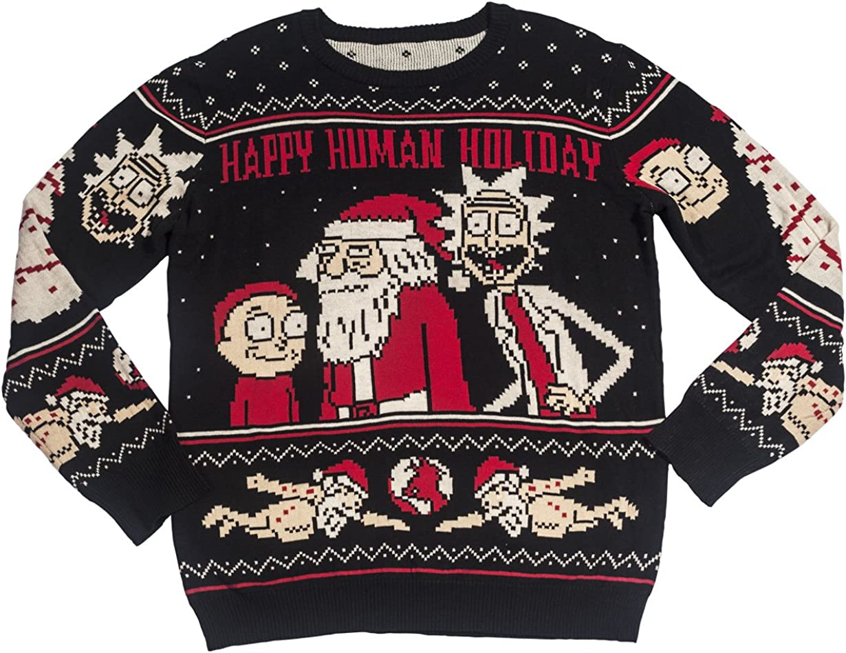 Ripple Junction Rick and Morty Adult Happy Human Holiday Ugly Sweater