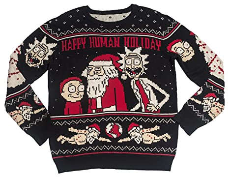 f05a0f19fa Ripple Junction Rick and Morty Adult Happy Human Holiday Medium Weight Knit  Crew Sweater SM Black