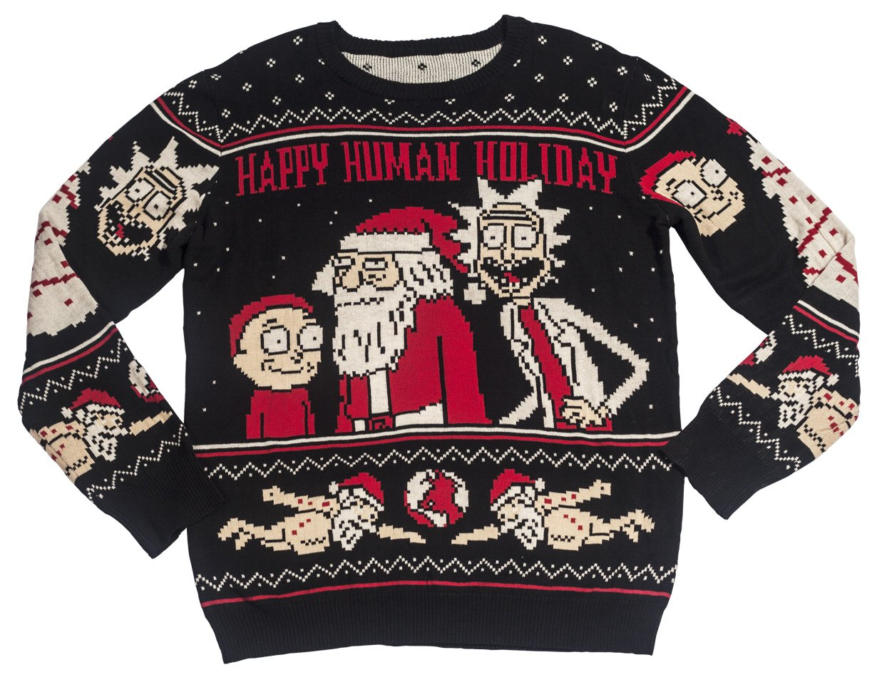 06e69d304f86 Ripple Junction Rick and Morty Happy Human Holiday Adult Knit Sweater