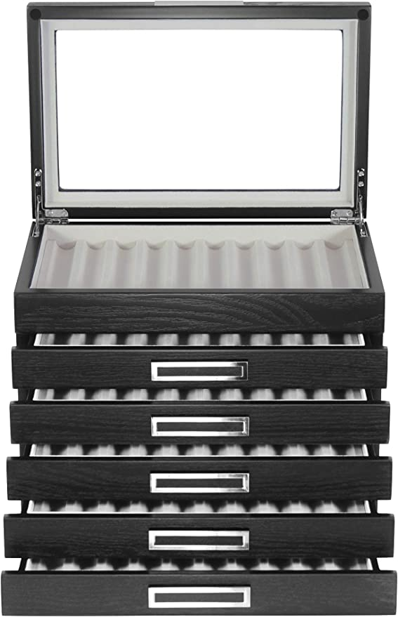 3-Layer Pen Display Case Leather Storage Collector Organizer Box 36 Fountain US Shipment