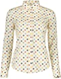 KIMIST Women's Tops Feminine Long Sleeve Polka Dotted Button Down Casual Dress Blouses Shirts