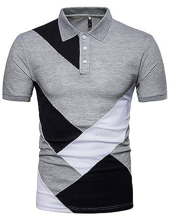 Herren Poloshirts Hemd Slim Fit Kurzarm Freizeit Casual Einfarbig T-Shirt  Summer Baumwolle Grau S