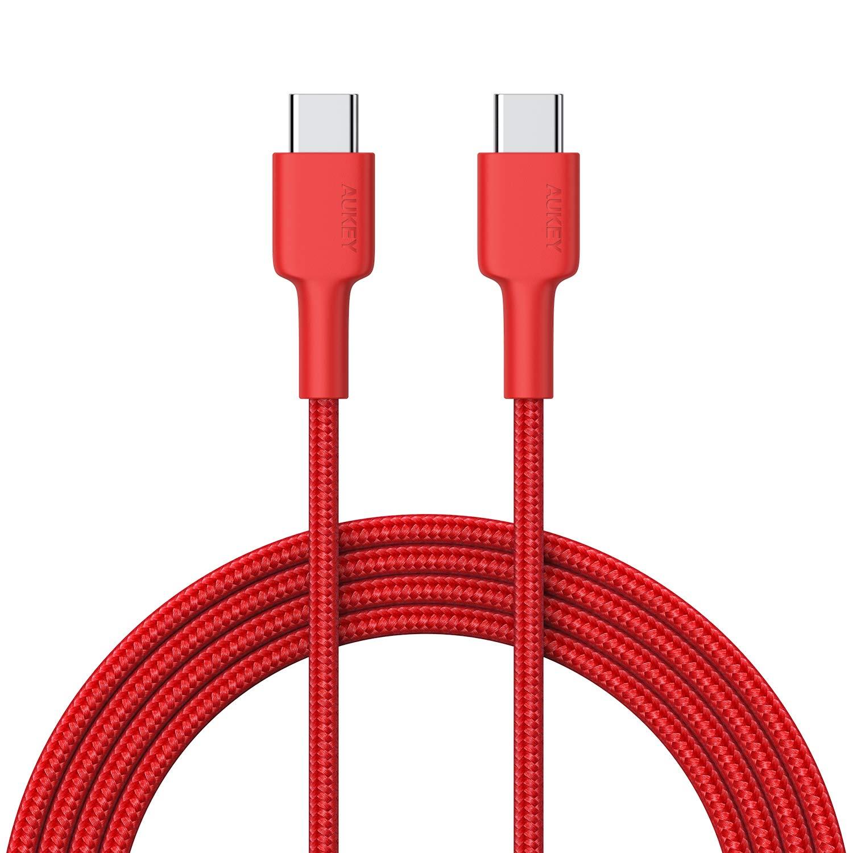 AUKEY Cavo USB C a USB C 2m Nylon con Connettore Alluminio Fibra