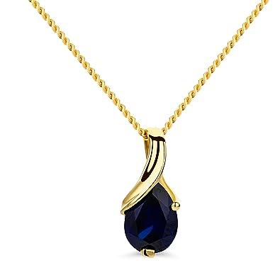 dernière sélection style à la mode en gros Orovi bijoux femme, collier en or jaune avec pendentif Saphir bleu pierre  précieuse 0.89 Ct chaîne 45 cm 9 Kt / 375 Or