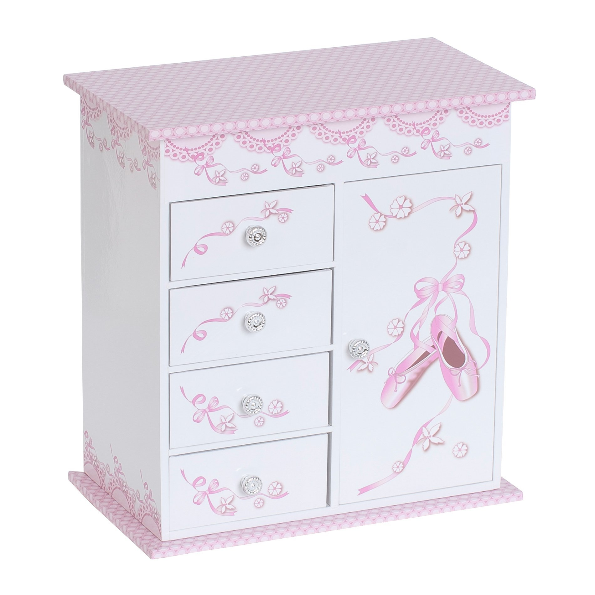 Mele & Co. Cristiana Girl's Musical Ballerina Jewelry Box (Ballet Slipper and Ribbon Design)