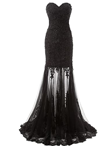 Belle House Women's Long Tulle Strapless Ball Gown Lace Formal Evening Dresses