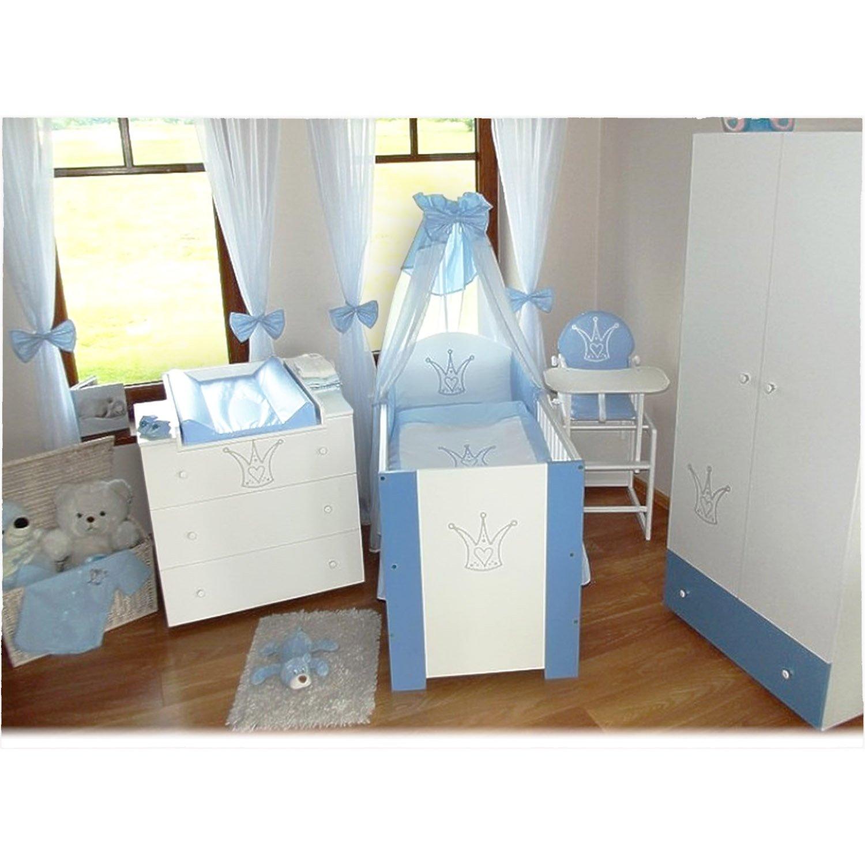 Klubs Kinderzimmer Krone Blau komplett (Bett/Kommode/Schrank)