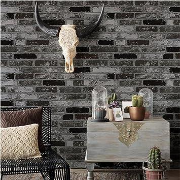 H&M Papel pintado sano PVC retro estilo 3D imitación ladrillo textura papel pintado decoración sala de