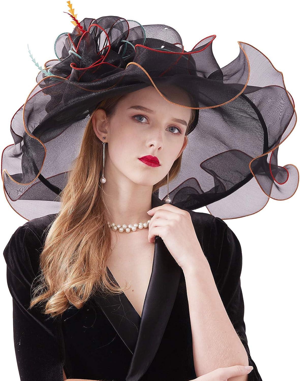 Feather Silk Organza Kentucky Derby Hat Wide Brim Fascinators Hats with Floral Wedding Party Evening