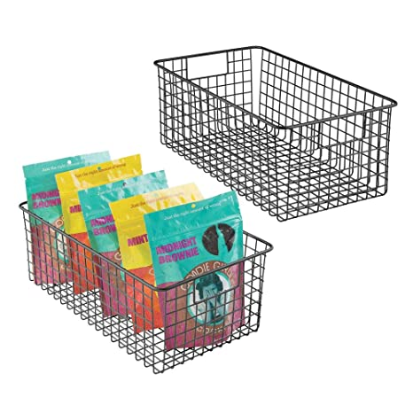Cesta met/álica de alambre y compacta para cocina oficina y otras estancias blanco mate Cesta organizadora alta con asas mDesign Cesta de almacenaje multiusos ba/ño