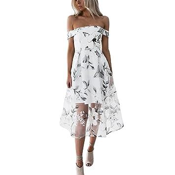 Vestidos Atractivo 2018,Longra ❤ Mujer Maxi Vestido Moda Impresión Floral Sin Mangas Vestidos