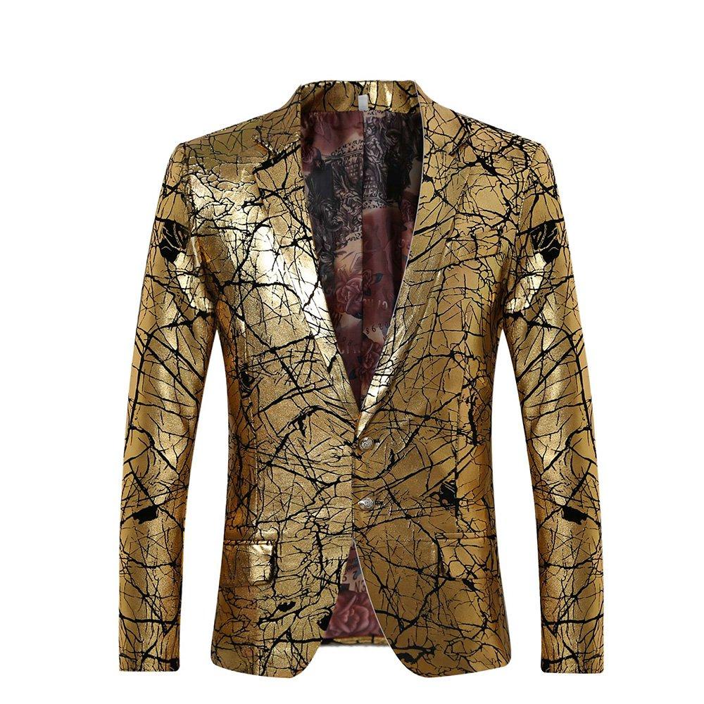 Men's Sport Coat Two Buttons Slim Fit Party Blazer Golden Dinner Suit Jacket LWXZ88