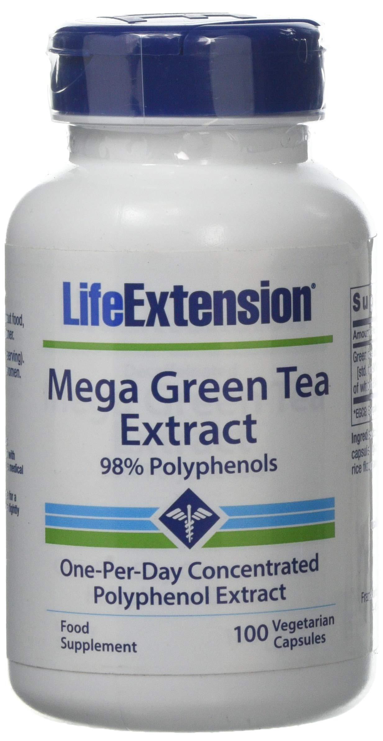 Life Extension Mega Green Tea Extract (98% Polyphenols) Decaffeinated, 100 Vegetarian Capsules