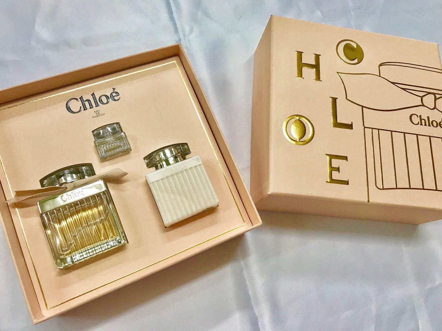Chloé 3 Piece Gift Set Eau de Parfum 2.5 oz, Body Lotion 3.4 oz, Deluxe Mini