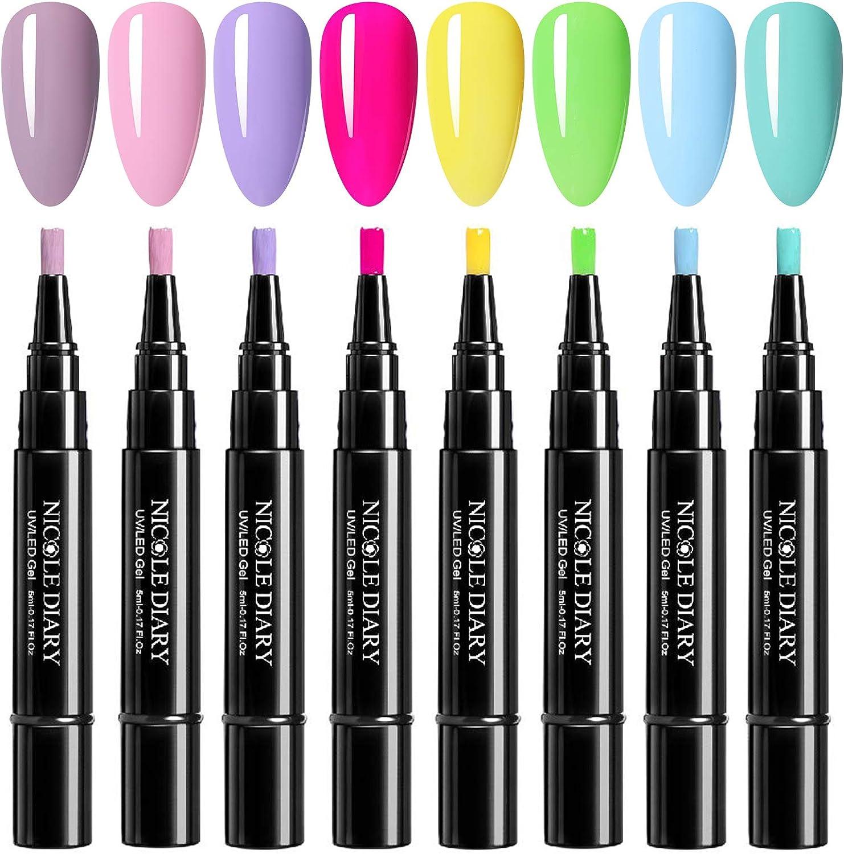NICOLE DIARY 5ml One Step UV Gel Pen 3 en 1 Soak Off UV LED Gel Esmalte de uñas No es necesario aplicar una capa superior de base Kit de barniz en gel de uñas de color fluorescente (8 colores)