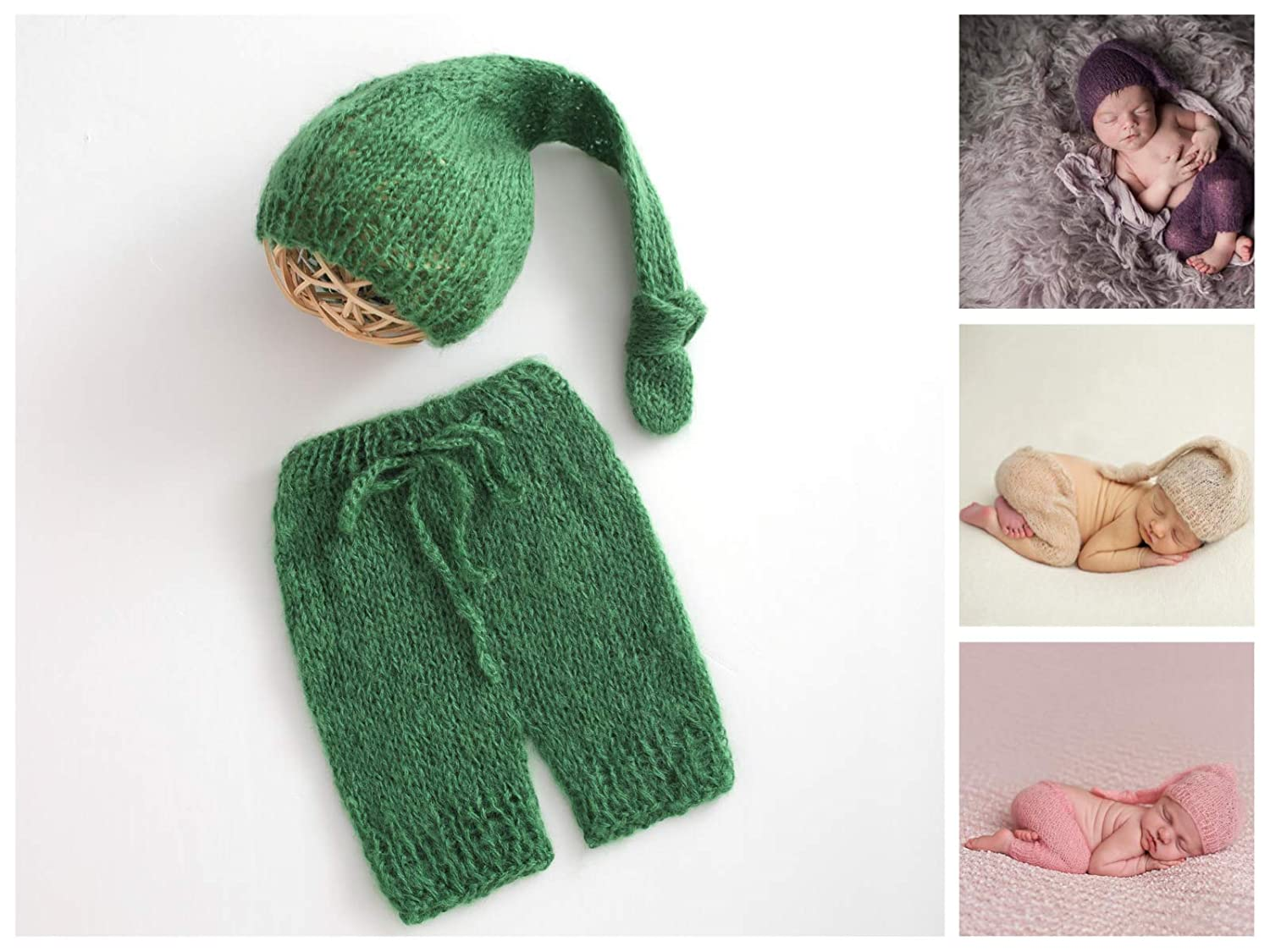 ARLAYO Newborn Photography Props Wool Hand-Knitted Hat and Pants Outfits Green