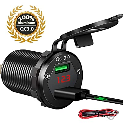 Quick Charge 3.0 Car Charger, 12V/24V USB Car Charger, Aluminum Dual QC3.0 USB Port Charger Socket Power Outlet with LED Digital Voltmeter DIY Kit for Marine, Boat, Motorcycle, Truck, Golf Cart(Black): Electronics