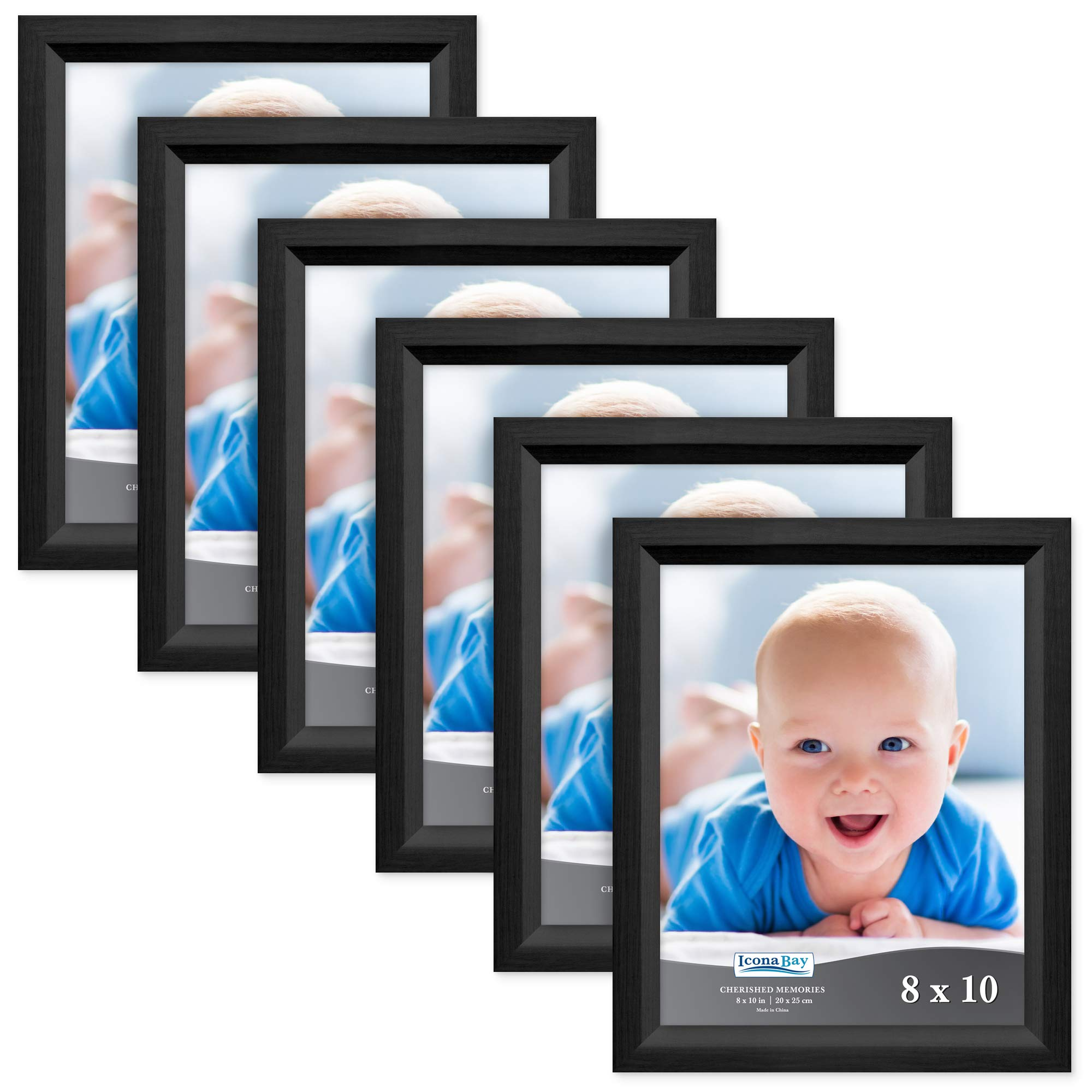 Icona Bay 8x10 Picture Frame (6 Pack, Obsidian Black Wood Finish), Black Photo Frame 8 x 10, Composite Wood Frame for Walls or Tables, Set of 6 Cherished Memories Collection by Icona Bay