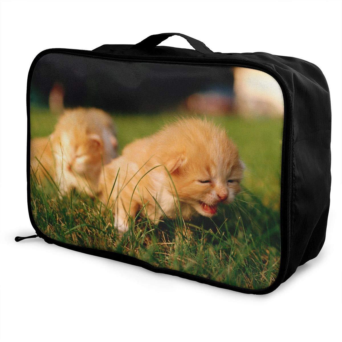 Travel Luggage Duffle Bag Lightweight Portable Handbag Cute Kitten Print Large Capacity Waterproof Foldable Storage Tote