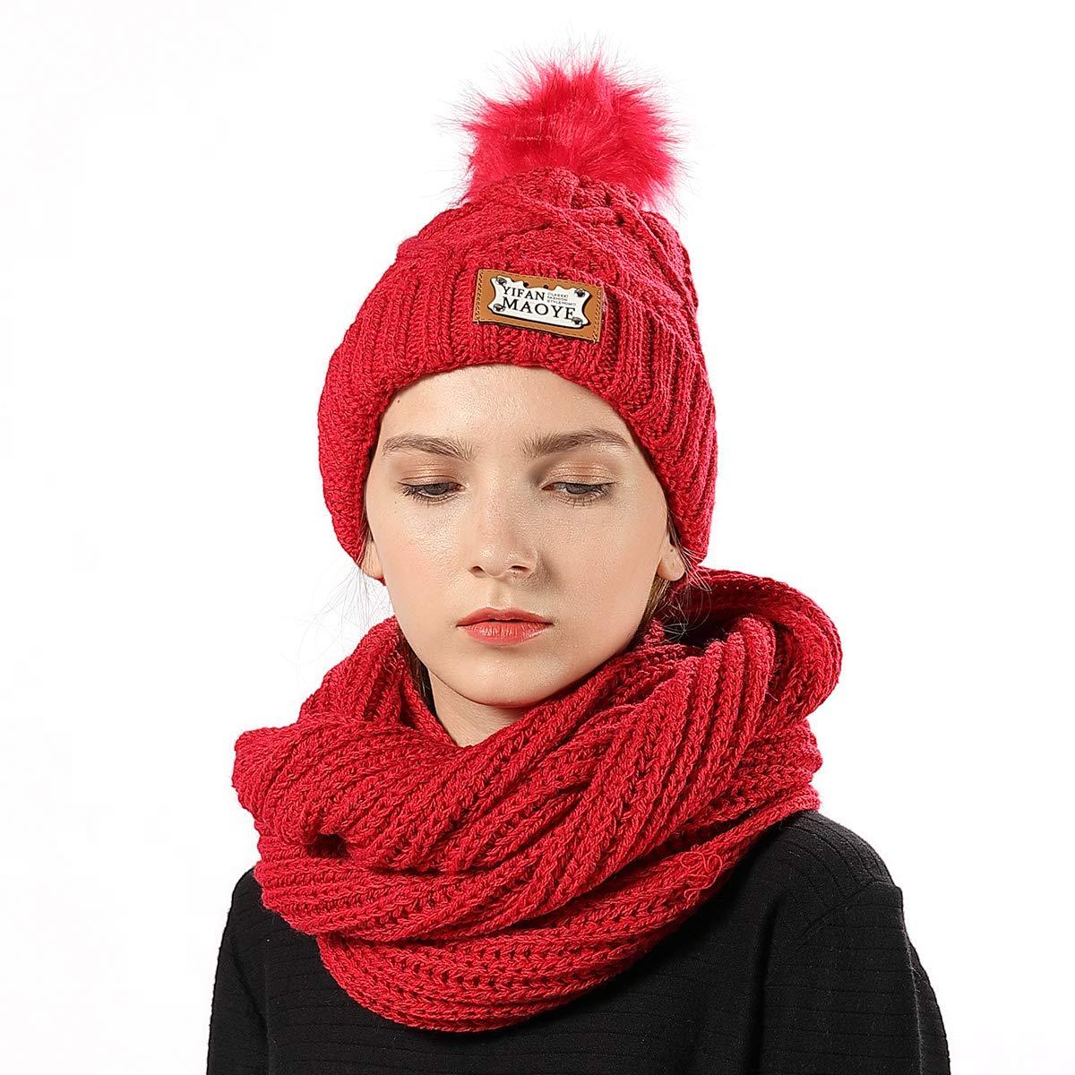 Knit Beanie Scarf Set Womens Fuzzy Lined Pom Pom Beanies Scarves for Winter Outdoors