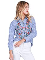 Simplee Apparel Women's Boho Embroidered Floral Striped Shirt Blouse Top Blue