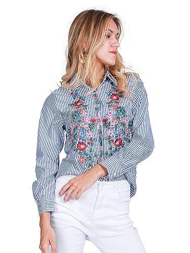 Simplee Apparel Las mujeres de manga larga alta baja dobladillo lado Split bordado blusa camisa azul...