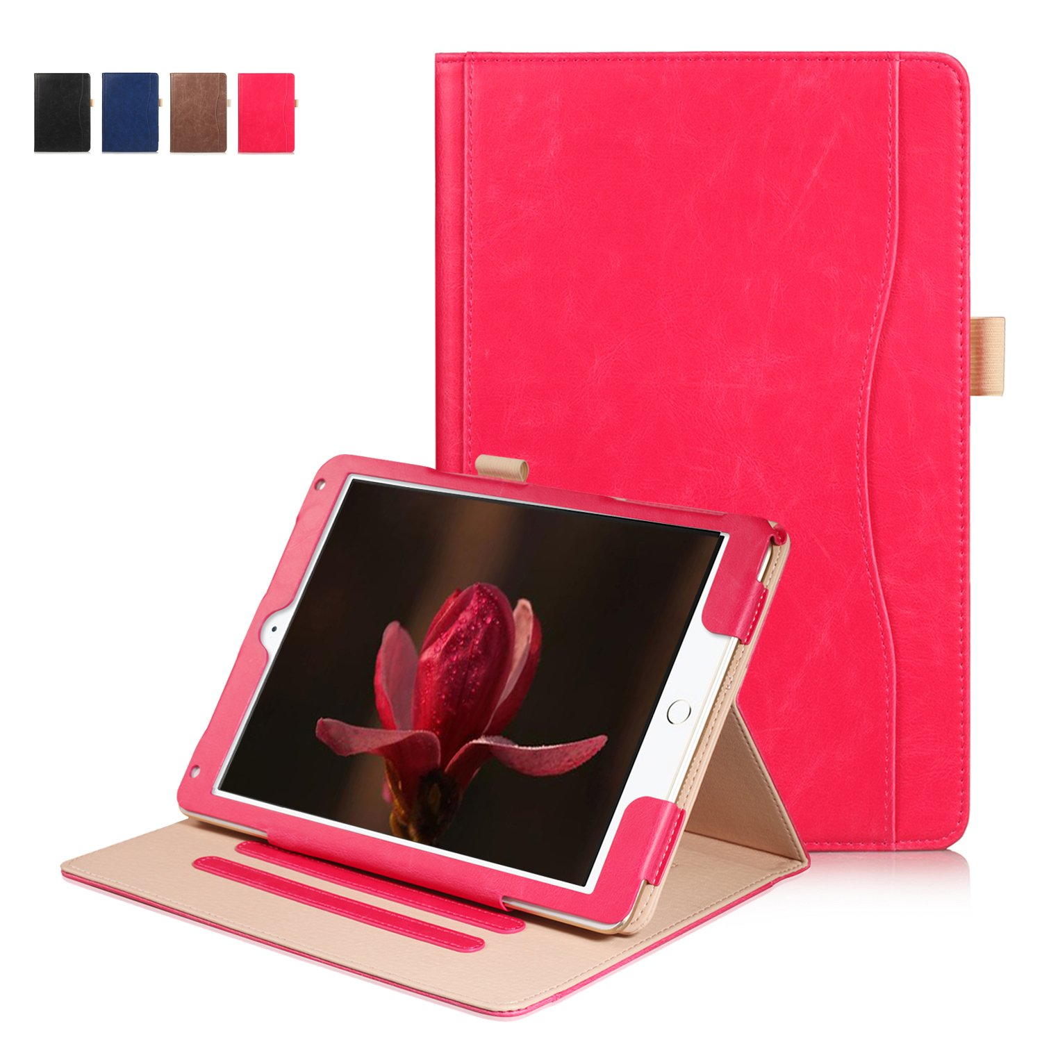 IPad Pro 10.5 inch Case 2017,Direct Premium Leather Business Multi-Functional Folio Stand Cover Hand Strap Pencil Holder Card Pocket Hand Strap Smart Auto Wake & Sleep (Red)