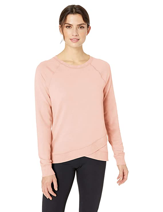 Amazon Essentials Women's Studio Terry Long-Sleeve Cross-Front Sweatshirt, Lotus, L best women's sweatshirts