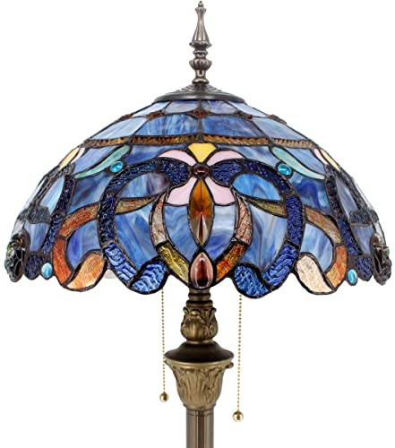 Tiffany Style Floor Lamp W16H64 Inch Tall Blue Purple Clouldy Stained Glass Shade 2E26 Antique Standing Reading Lighting Base S558 WERFACTORY LAMPS Bedroom Living Room Coffee Bedside Table Lover Gift