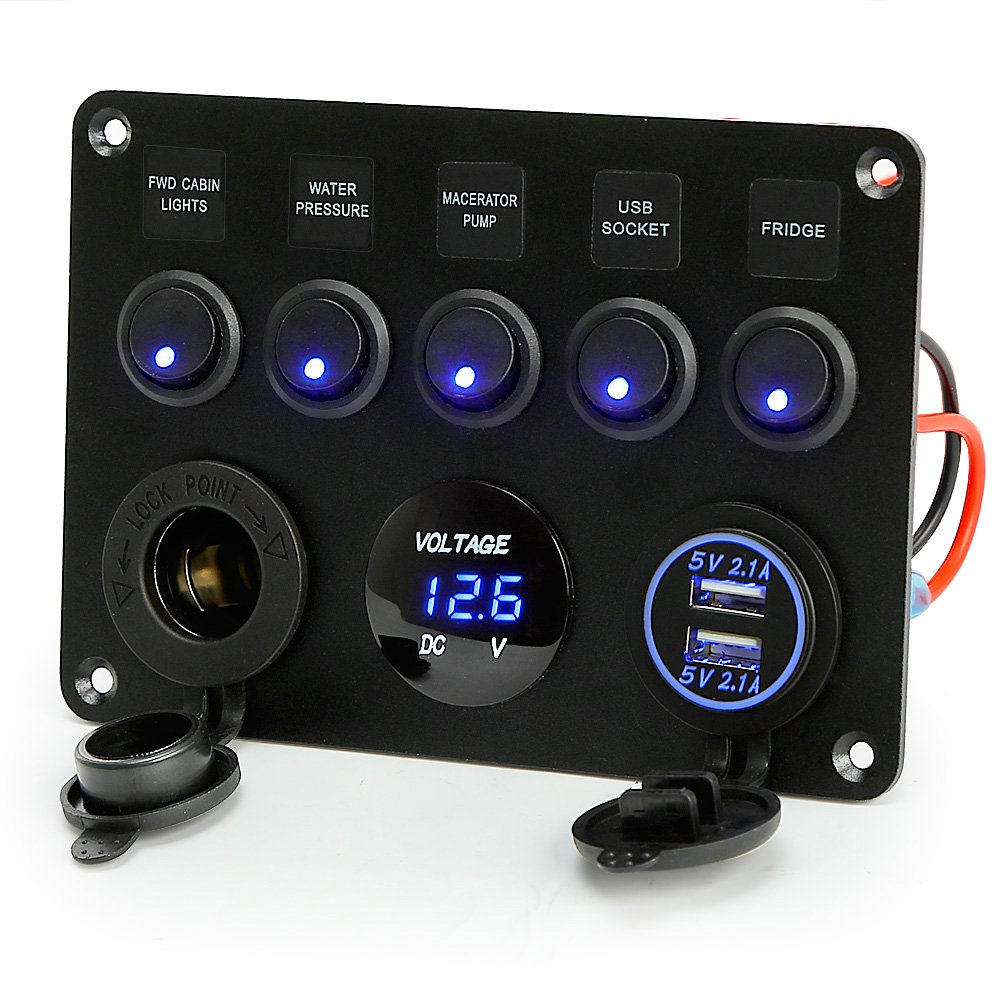 Rupse For 5 Gang On Off Toggle Switch Panel Dual Usb Socket Charger 12 Way Marine Non Illuminated Circuit Breaker Amazonco Led Voltmeter 12v Power Outlet Car Boat Rv Truck Camper Vehicles Motorbike