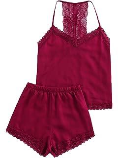 ef7fbfb997df8 DIDK Femme Pyjama en Satin 2 Pieces Pyjama sans Manche Vêtements de Nuit en  Soie Femmes…