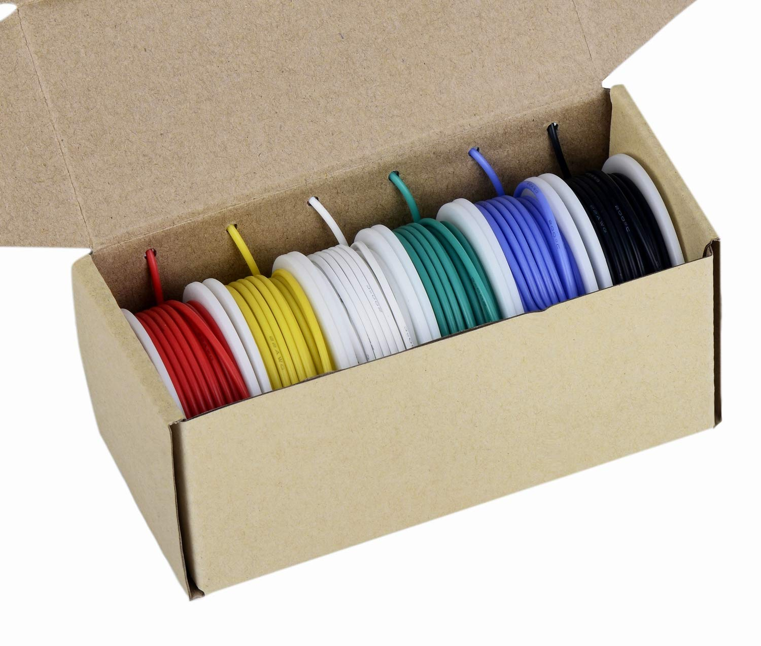 24 Gauge Wire, Electrical Wire Kit 24 AWG Flexible Silicone Wire(6 Different Colored 30 Feet spools) 300V Hookup Wire High Temperature Resistance TUOFENG 24awg