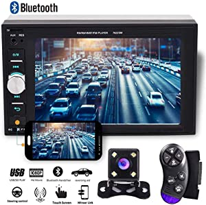"Camecho 2 din Car Multimedia Player 1080P Full HD 6.2"" LCD Touch Screen Car Stereo Audio MP5 Player Support Bluetooth/TF/USB/FM Radio&Android Phone Mirror Link+Steering Wheel Control&Backup Camera"