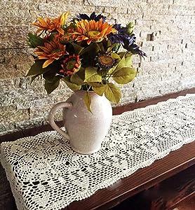 Damanni Rectangular Cotton Handmade Crochet Lace Table Runner Doilies Table Dresser Scarf Décor,16 Inch by 35 Inch,Beige
