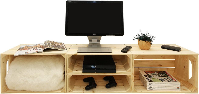 Simply Mueble TV 2s2h – Kit Listo para Assembler – Cajas (Madera (x4) – Hecho a Mano en Francia: Amazon.es: Hogar