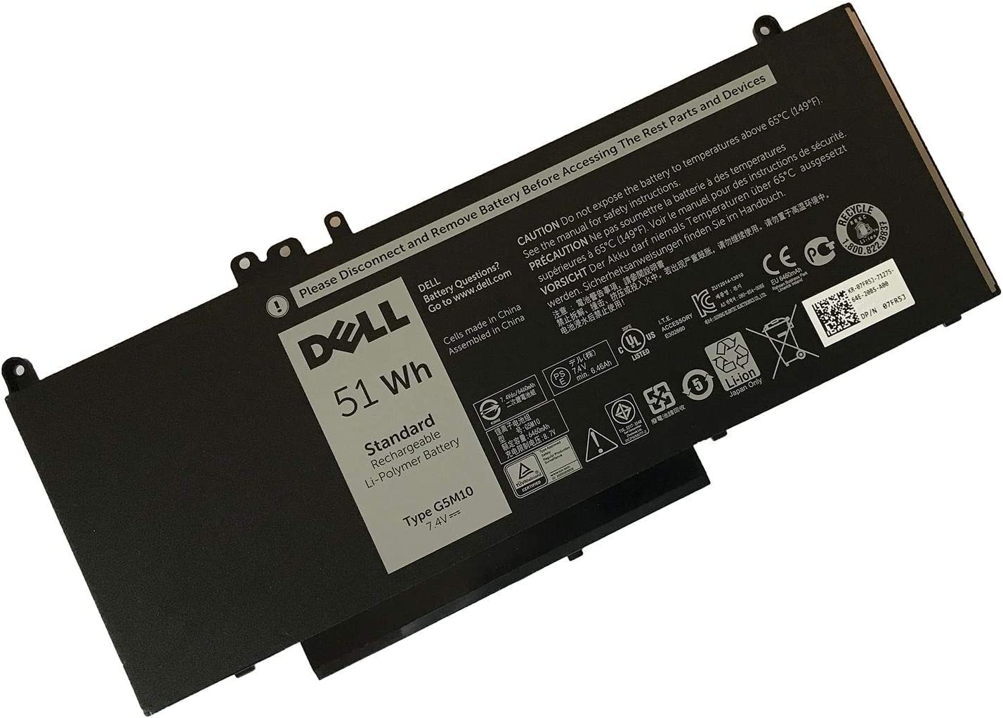 DELL G5M10 7.6V 51WH Lithium Polymer Battery for DELL Latitude E5450 E5550 Notebook