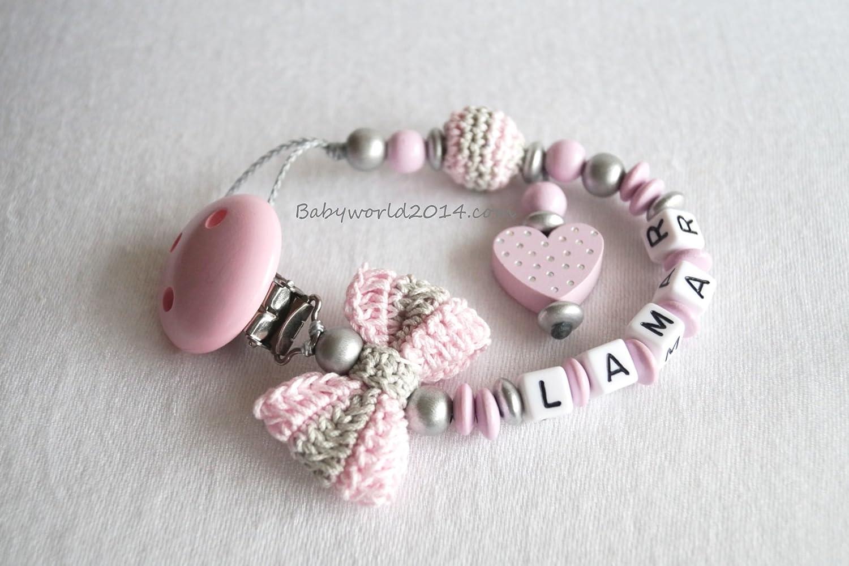 Cadena para chupete con nombres lazo corazón: Amazon.es: Bebé