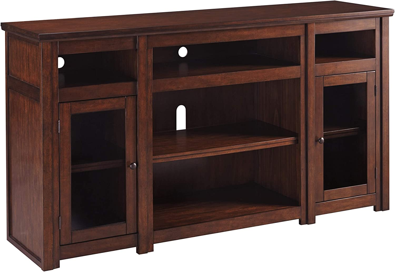 Signature Design by Ashley Harpan Extra Large TV Stand with Fireplace Option Reddish Brown