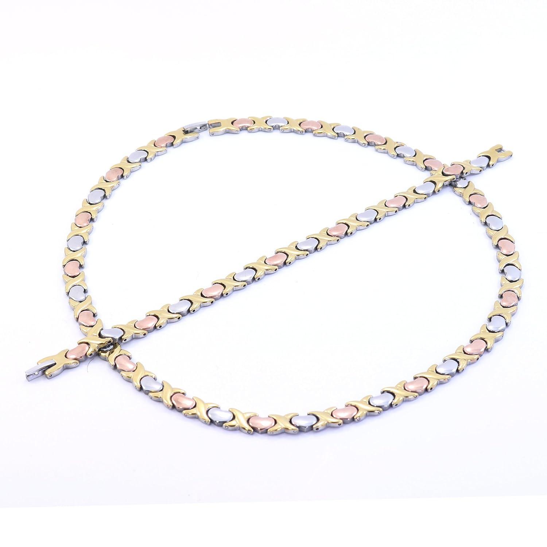Amazon.com: Womens 3 Tone Xoxo Hugs & Kisses Necklace and Bracelet ...