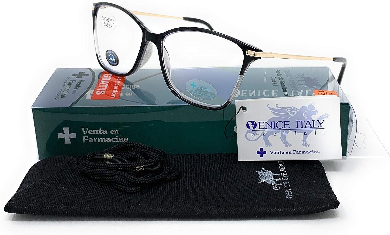 Gafas de lectura con filtro luz azul para gaming, ordenador, móvil. Butterfly venice negro con protección de luz azul 2.50x