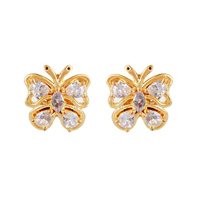 e4a86e649 Buy Cardinal Women's Traditional Brass American Diamond Earring (893, Gold)  Online at Low Prices in India   Amazon Jewellery Store - Amazon.in