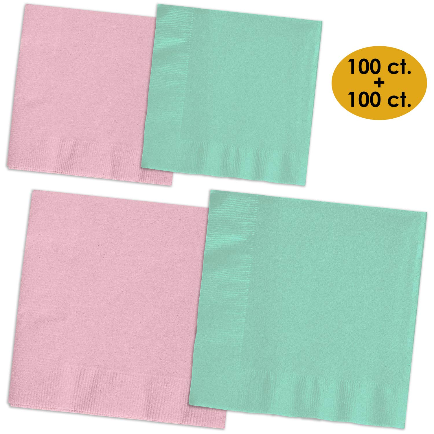 200 Napkins - Candy Pink & Mint - 100 Beverage Napkins + 100 Luncheon Napkins, 2-Ply, 50 Per Color Per Type by HeroFiber