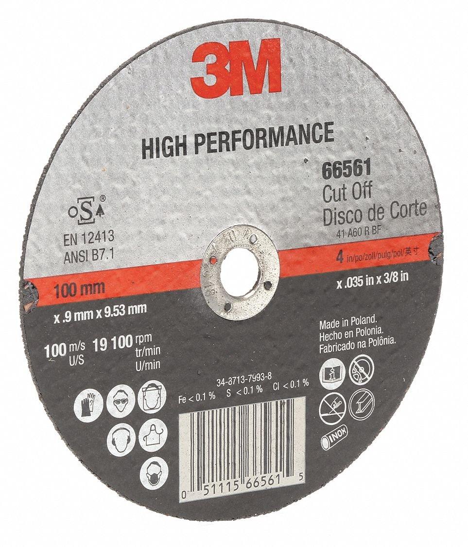 4' Type 1 Ceramic Abrasive Cut-Off Wheel, 3/8' Arbor, 0.035'-Thick, 19,100 Max. RP - 1 Each