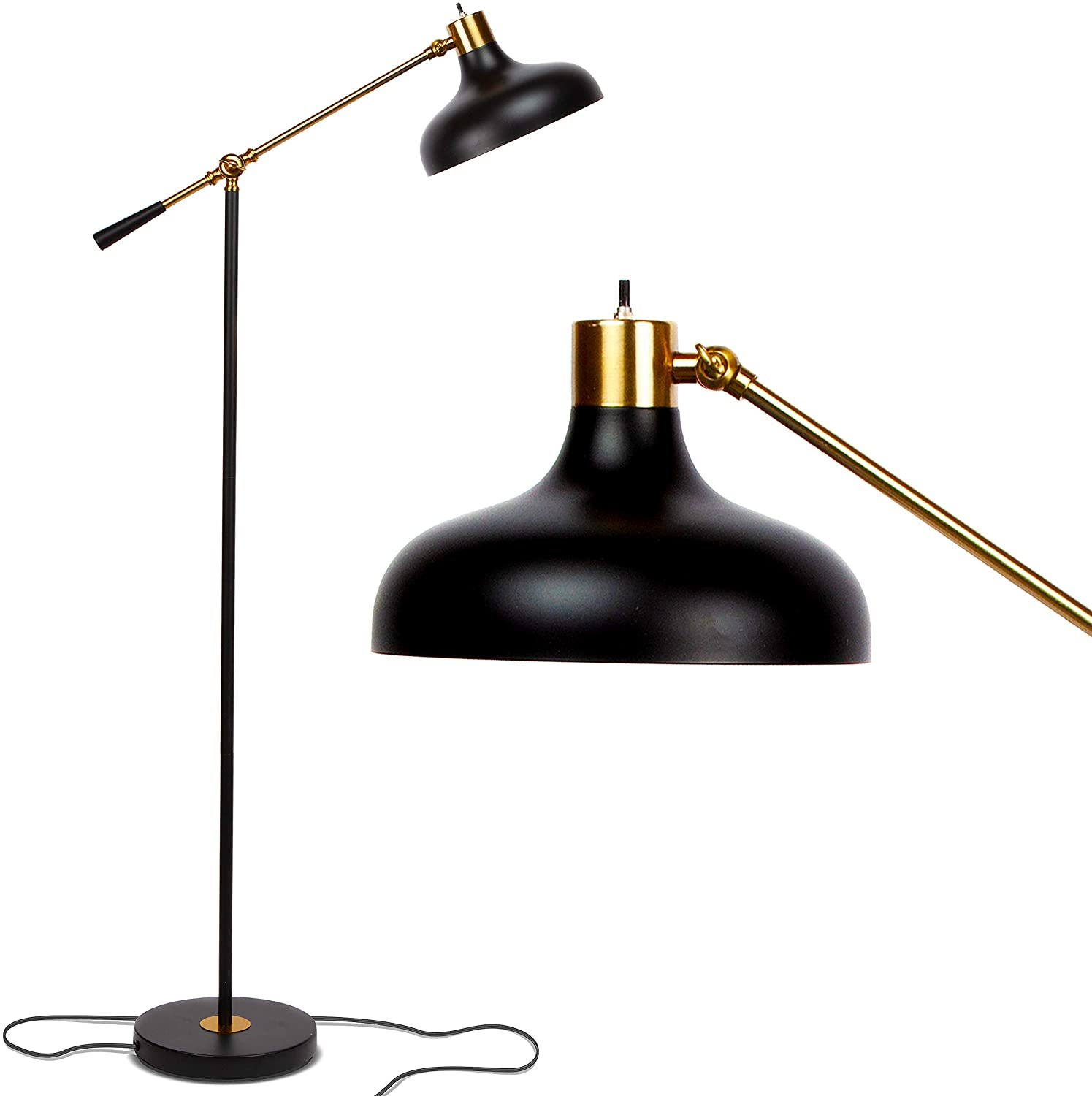 Brightech Wyatt - Industrial Floor Lamp for Living Rooms & Bedrooms - Rustic Farmhouse Reading Lamp - Standing, Adjustable Arm Indoor Pole Lamp for Crafts & Tasks