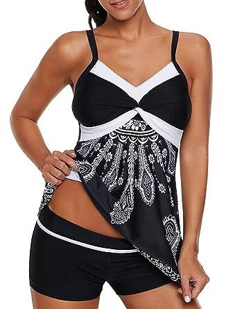 f5bb94e5bf4 Dearlove Womens Retro Printed Strappy Two Piece Tankini Sets Slimming Bathing  Suit Tummy Control Swimsuit Swimwear