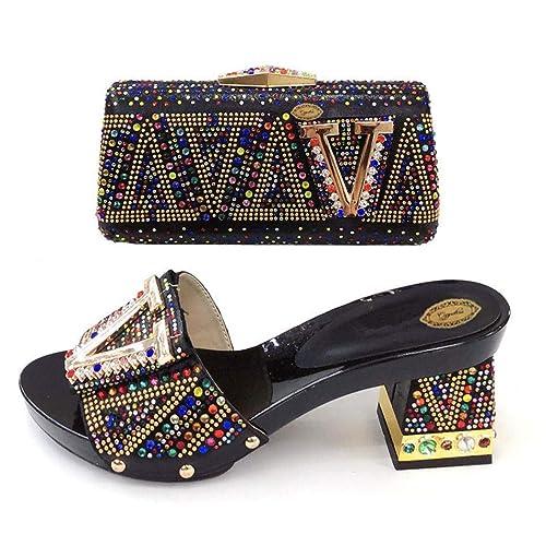 Amazon.com: Zapatillas de tacón medio zapatos de lujo con ...