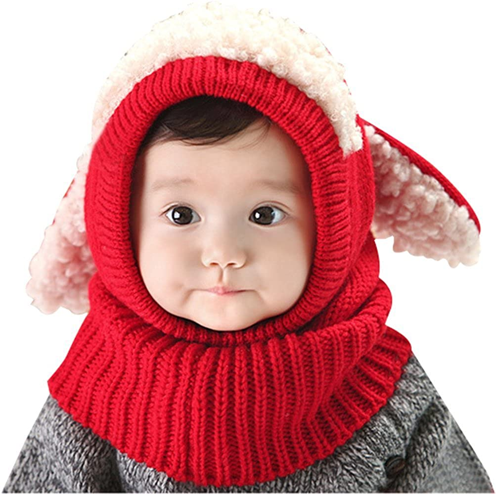 Tuopuda Baby Girls Boys Toddler Winter Hat Scarf Set Cutest Earflap Hood Warm Knit Hat Scarves with Ears Snow Neck Warmer Skull Cap for Kids 6-36 Months Tuopuda-03091601BU