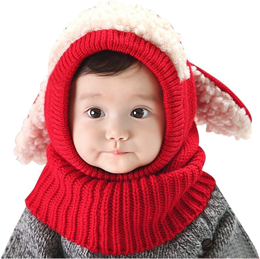 Tuopuda Baby Kinder Winter Warm Gestrickter M/ütze Beanie M/ütze Haube Strickm/ütze Winterm/ützen Earflap Hut Kappe Schnee Hut Schlupfm/ütze Schalm/ütze