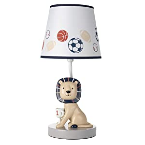 Lambs & Ivy Hall of Fame Lion/Sports Theme Nursery Lamp with Shade & Bulb