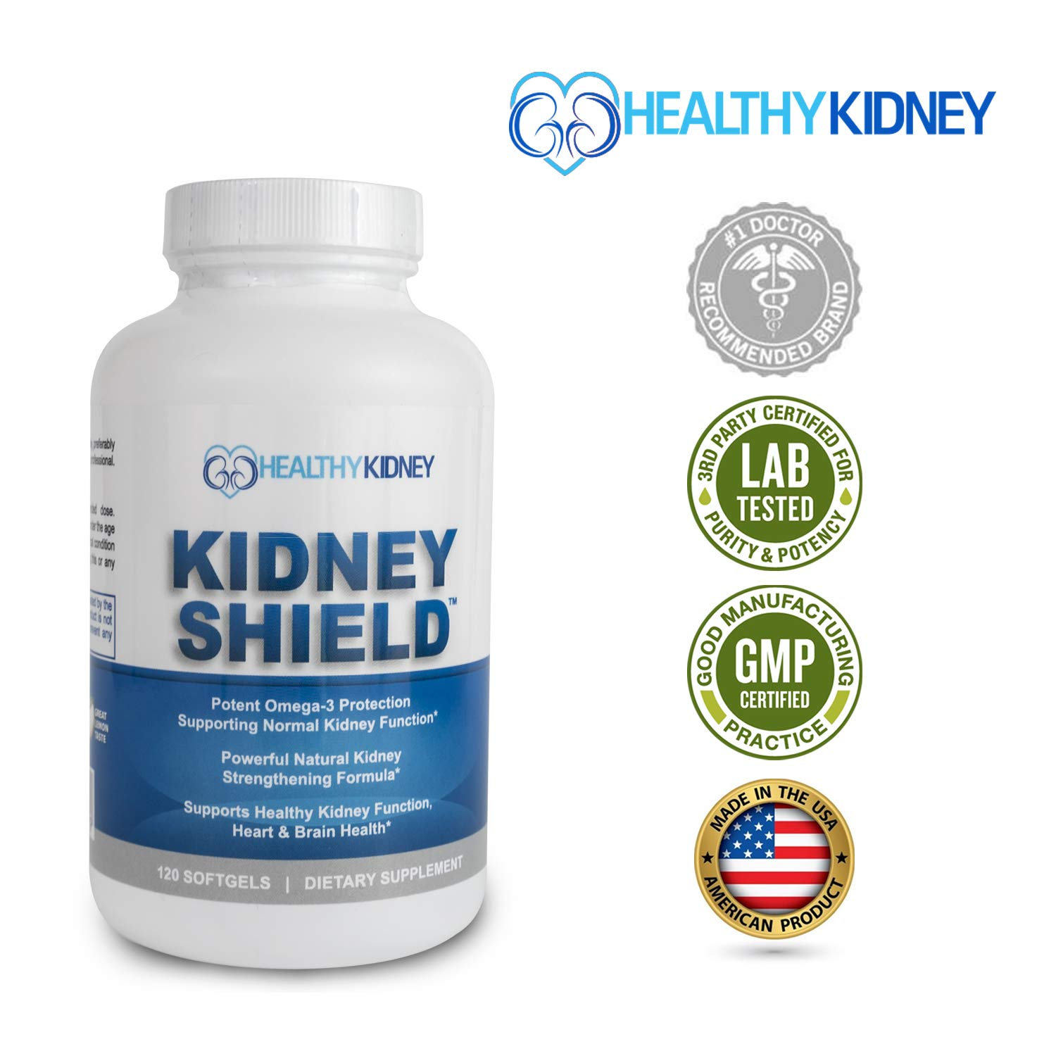 Best Kidney Supplement to Protect and Support Kidney Function, Creatinine, Kidney Cleanse and Support Kidney Health for Quick Renal Detox Kidney Flush Kidney Shield Omega3 by Kidney Restore